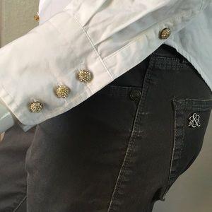 J. Crew Tops - J CREW Rhinestone Bottom-Up Shirt